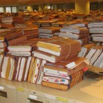 picture of claim files piled up in VA regional office