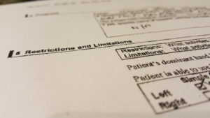 Attending Physician Statement Form with Questions about patients' Restrictions & Limitations
