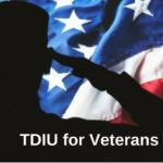 "picture of USA flag with silhouette of saluting veteran and word ""TDIU"""